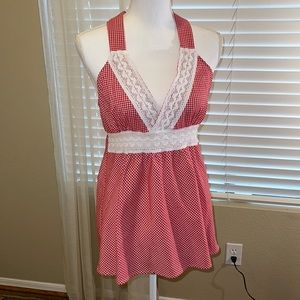 🌻 Brothers Red & White Gingham w/lace Halter Top